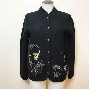 Wool Vintage Sweater Jacket With Embroidery